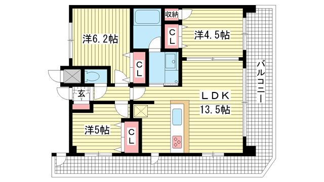 物件番号: 1025820625 プレジール三宮Ⅱ  神戸市中央区加納町2丁目 3LDK マンション 間取り図