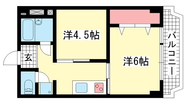物件番号: 1025820666 吉田マンション  神戸市兵庫区荒田町3丁目 1K マンション 間取り図