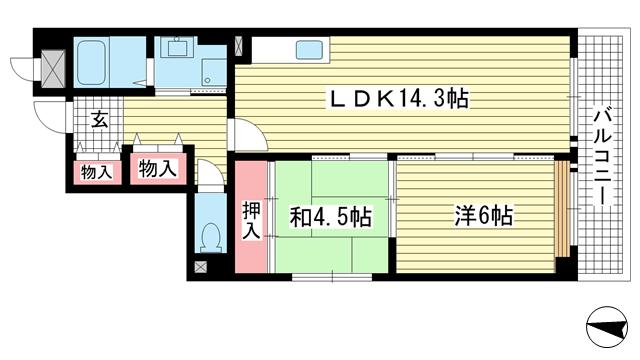物件番号: 1025821052 サニーハイツ六甲  神戸市灘区大和町2丁目 2LDK マンション 間取り図