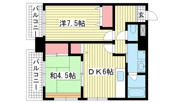 物件番号: 1025821091 潮マンション  神戸市中央区元町通5丁目 2DK マンション 間取り図