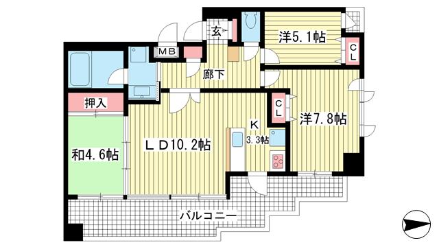 物件番号: 1025821759 プレジール三宮  神戸市中央区加納町2丁目 3LDK マンション 間取り図