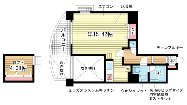 物件番号: 1025821925 ワイズコーポレーションビルディング  神戸市中央区下山手通2丁目 1R マンション 間取り図