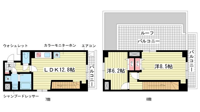 物件番号: 1025822050 マンション八雲  神戸市中央区八雲通2丁目 2LDK マンション 間取り図