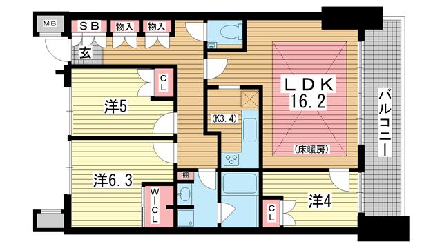 物件番号: 1025822076 トア山手フラッツ  神戸市中央区下山手通3丁目 3LDK マンション 間取り図