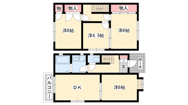 物件番号: 1025822179 中山手ガーデンハウスB棟  神戸市中央区中山手通7丁目 4DK ハイツ 間取り図