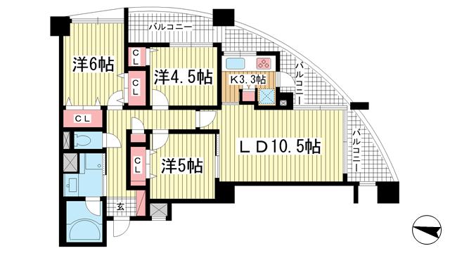 物件番号: 1025822635 セレッソコート神戸花隈公園  神戸市中央区花隈町 3LDK マンション 間取り図