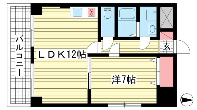 物件番号: 1025822661 ラムール三宮  神戸市中央区琴ノ緒町4丁目 1LDK マンション 間取り図
