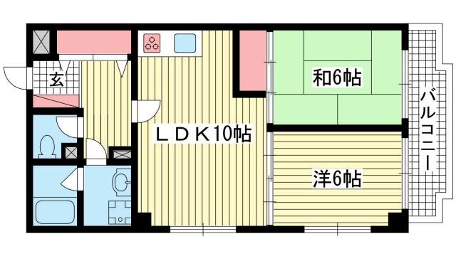 物件番号: 1025822705 ウエストコート1番館  神戸市兵庫区塚本通8丁目 2LDK マンション 間取り図