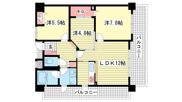 物件番号: 1025823307 ロイヤルヒル北野  神戸市中央区加納町2丁目 3LDK マンション 間取り図