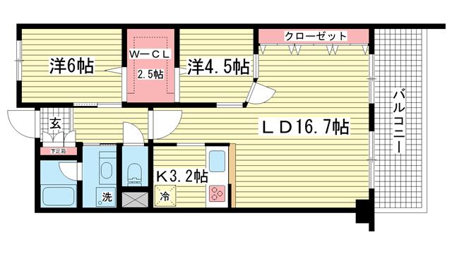 物件番号: 1025823497 グランドビスタ北野  神戸市中央区加納町2丁目 1SLDK マンション 間取り図