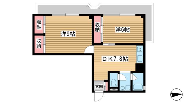 物件番号: 1025823839 北野町アーバンライフ  神戸市中央区北野町2丁目 2DK マンション 間取り図