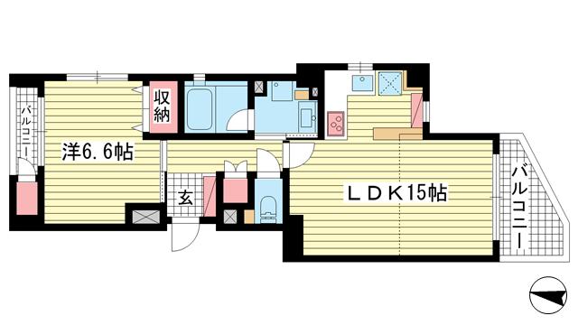 物件番号: 1025824103 PREDIO SEICOHⅡ  神戸市中央区中山手通2丁目 1LDK マンション 間取り図