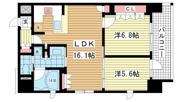 物件番号: 1025824301 リーガル神戸三宮山手  神戸市中央区下山手通2丁目 2LDK マンション 間取り図
