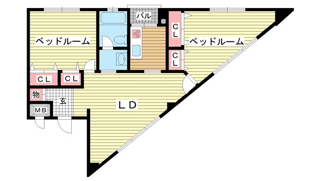 物件番号: 1025824434 第6スカイマンション  神戸市中央区山本通2丁目 2LDK マンション 間取り図