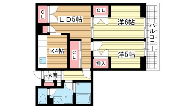 物件番号: 1025824933 昭和レジデンス  神戸市兵庫区矢部町 2LDK マンション 間取り図