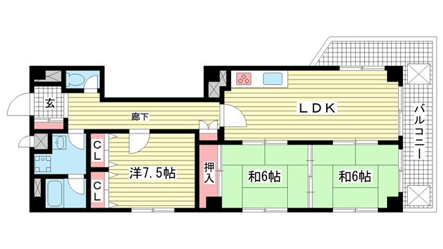 物件番号: 1025825282 ウエストコート1番館  神戸市兵庫区塚本通8丁目 3LDK マンション 間取り図