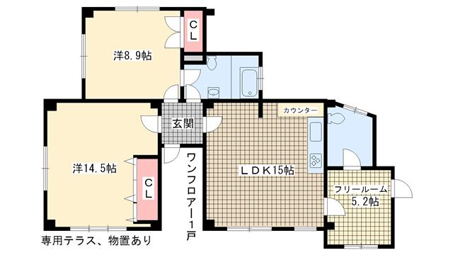 物件番号: 1025825440 チューティパット  神戸市中央区山本通2丁目 2SLDK マンション 間取り図