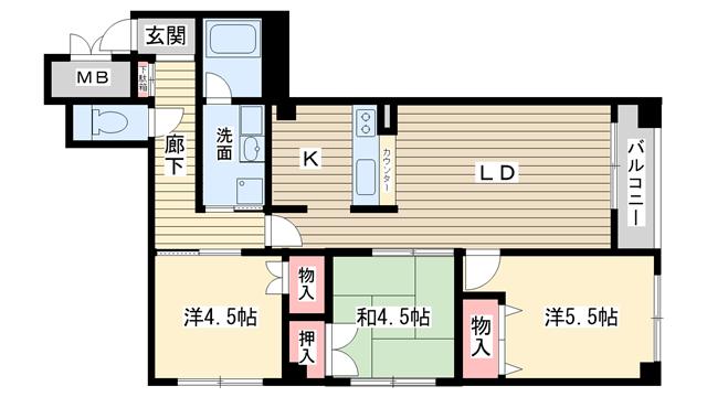 物件番号: 1025826039 ヴァリーコート山本通マンション  神戸市中央区山本通4丁目 3LDK マンション 間取り図