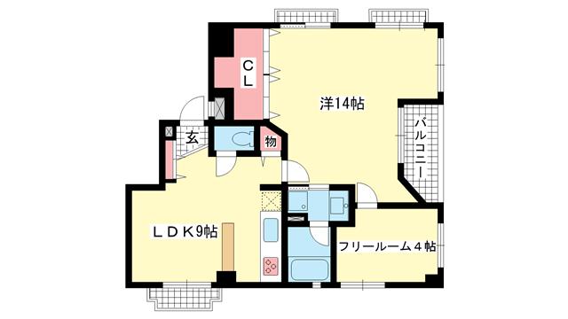 物件番号: 1025826054 ワコーレアーバンヒル山手  神戸市中央区下山手通8丁目 1SLDK マンション 間取り図