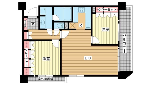 物件番号: 1025826323 リーガル神戸下山手  神戸市中央区下山手通3丁目 2LDK マンション 間取り図