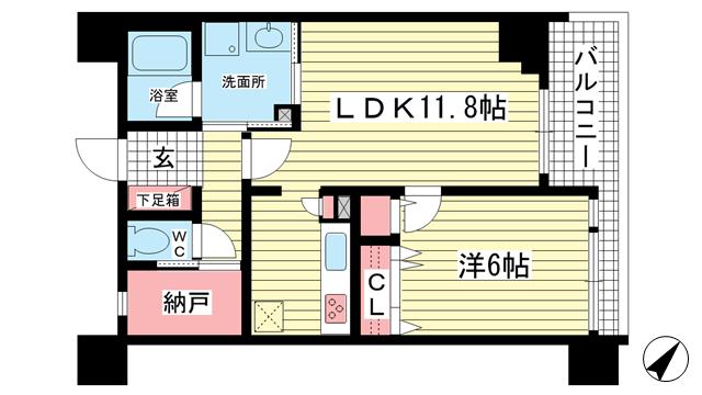 物件番号: 1025827014 アーバネックス元町通  神戸市中央区元町通6丁目 1LDK マンション 間取り図
