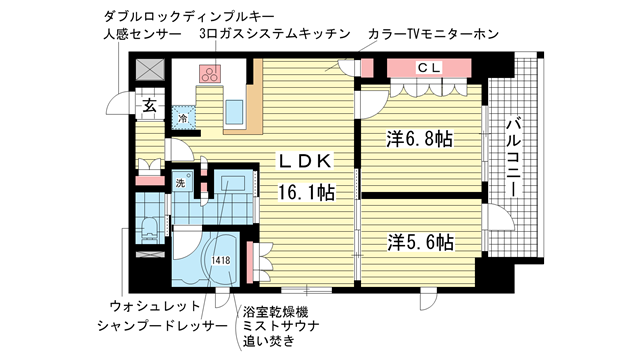 物件番号: 1025827094 リーガル神戸三宮山手  神戸市中央区下山手通2丁目 2LDK マンション 間取り図