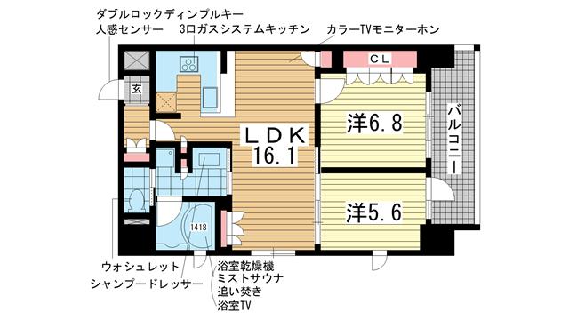 物件番号: 1025827095 リーガル神戸三宮山手  神戸市中央区下山手通2丁目 2LDK マンション 間取り図