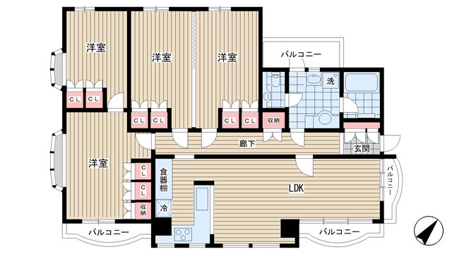 物件番号: 1025827439 楠町8丁目マンション  神戸市中央区楠町8丁目 4LDK マンション 間取り図