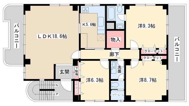 物件番号: 1025828407 ランジットハウス  神戸市中央区山本通1丁目 3LDK マンション 間取り図