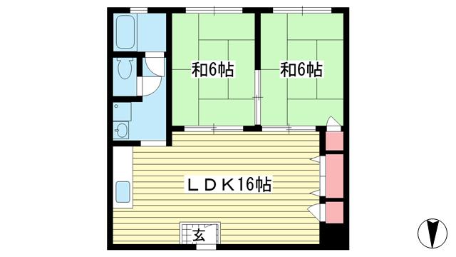 物件番号: 1025828633 元町コーポラス  神戸市中央区元町通4丁目 2LDK マンション 間取り図