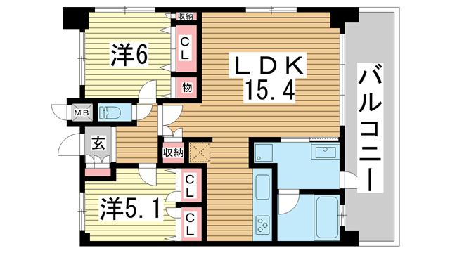 物件番号: 1025829120 プレジール三宮Ⅱ  神戸市中央区加納町2丁目 2LDK マンション 間取り図