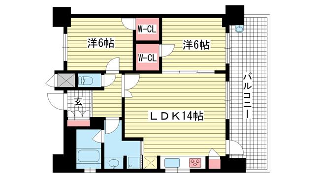 物件番号: 1025829261 プレジール三宮Ⅱ  神戸市中央区加納町2丁目 2LDK マンション 間取り図