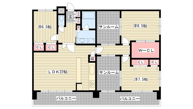 物件番号: 1025830498 プレジール三宮Ⅱ  神戸市中央区加納町2丁目 3LDK マンション 間取り図