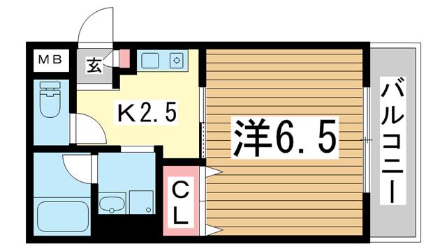物件番号: 1025830728 オーシャンズコート  神戸市中央区北長狭通4丁目 1K マンション 間取り図