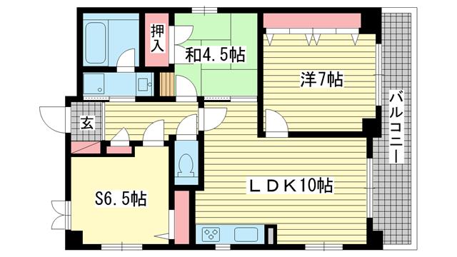 物件番号: 1025830743 ロイヤルヒル北野  神戸市中央区加納町2丁目 2SLDK マンション 間取り図