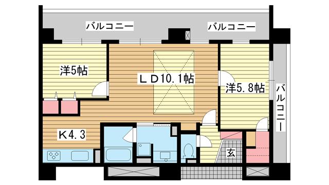 物件番号: 1025830861 リベルタ北野  神戸市中央区加納町2丁目 2LDK マンション 間取り図