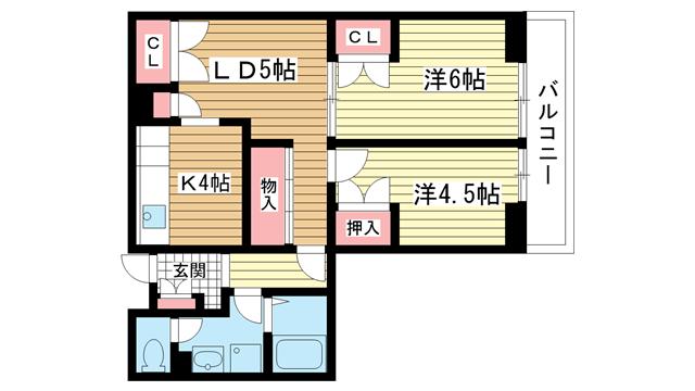 物件番号: 1025831139 昭和レジデンス  神戸市兵庫区矢部町 2LDK マンション 間取り図