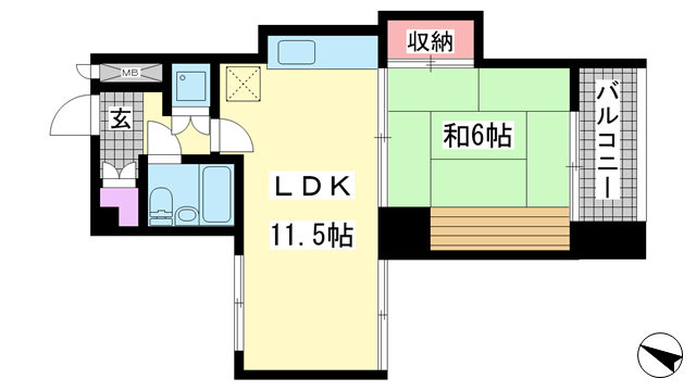 物件番号: 1025831576 メゾンドール元町  神戸市中央区元町通4丁目 1LDK マンション 間取り図