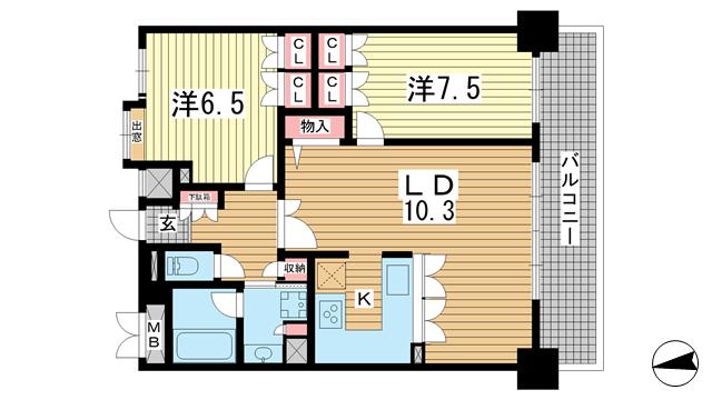 物件番号: 1025832108 リーガル神戸下山手  神戸市中央区下山手通3丁目 2LDK マンション 間取り図