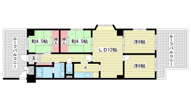 物件番号: 1025832526 ワコーレアルテ中山手  神戸市中央区中山手通3丁目 3LDK マンション 間取り図