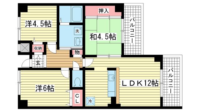 物件番号: 1025832545 エリム摩耶  神戸市灘区畑原通3丁目 3LDK マンション 間取り図