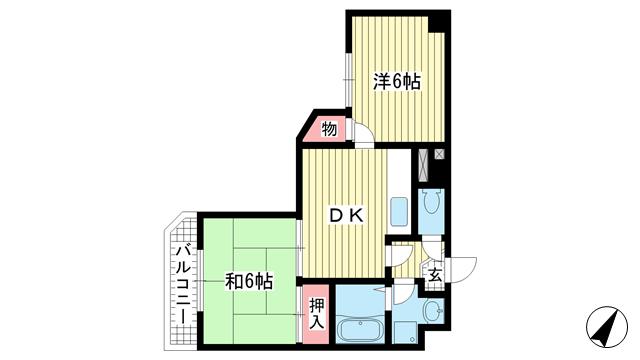 物件番号: 1025832571 エクレール藤  神戸市兵庫区中道通5丁目 2DK マンション 間取り図