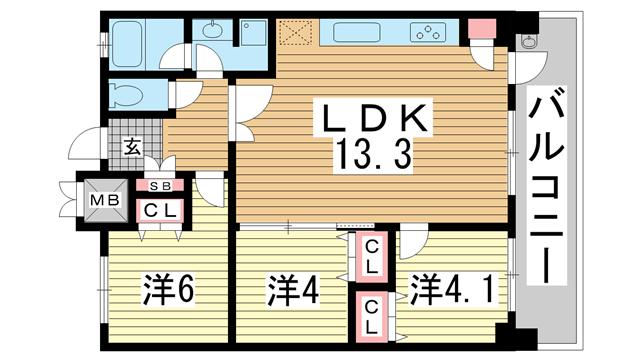 物件番号: 1025832604 プレジール三宮Ⅱ  神戸市中央区加納町2丁目 3LDK マンション 間取り図
