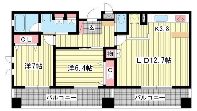 物件番号: 1025832660 プレジール三宮  神戸市中央区加納町2丁目 2LDK マンション 間取り図