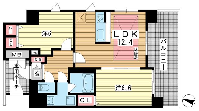 物件番号: 1025832674 エステムプラザ神戸水木通グランクロス  神戸市兵庫区水木通1丁目 2LDK マンション 間取り図
