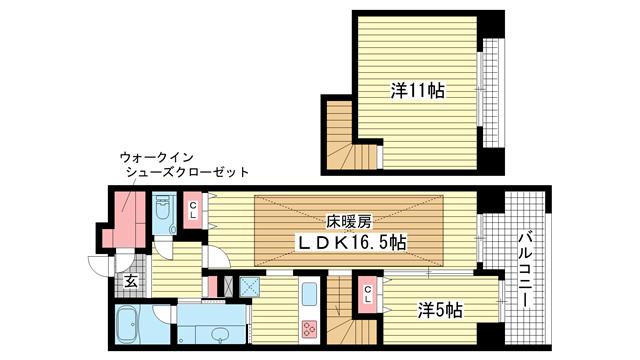 物件番号: 1025832879 エスコートみなと元町海岸通  神戸市中央区海岸通5丁目 2LDK マンション 間取り図