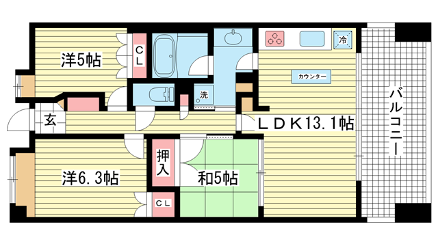 物件番号: 1025832936 アーバネックス三宮磯辺通  神戸市中央区磯辺通1丁目 3LDK マンション 間取り図