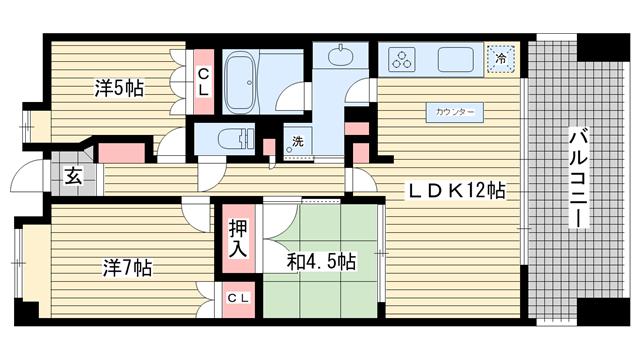 物件番号: 1025833129 アーバネックス三宮磯辺通  神戸市中央区磯辺通1丁目 3LDK マンション 間取り図