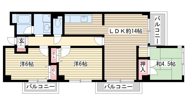 物件番号: 1025833138 ヴァリーコート山本通マンション  神戸市中央区山本通4丁目 3LDK マンション 間取り図