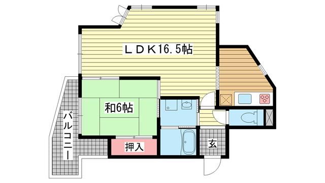 物件番号: 1025833259 ラフィーネ三宮  神戸市中央区二宮町3丁目 1LDK マンション 間取り図
